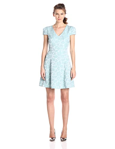 4.collective Women's Verona Jacquard Cap Sleeve Flirty Dress