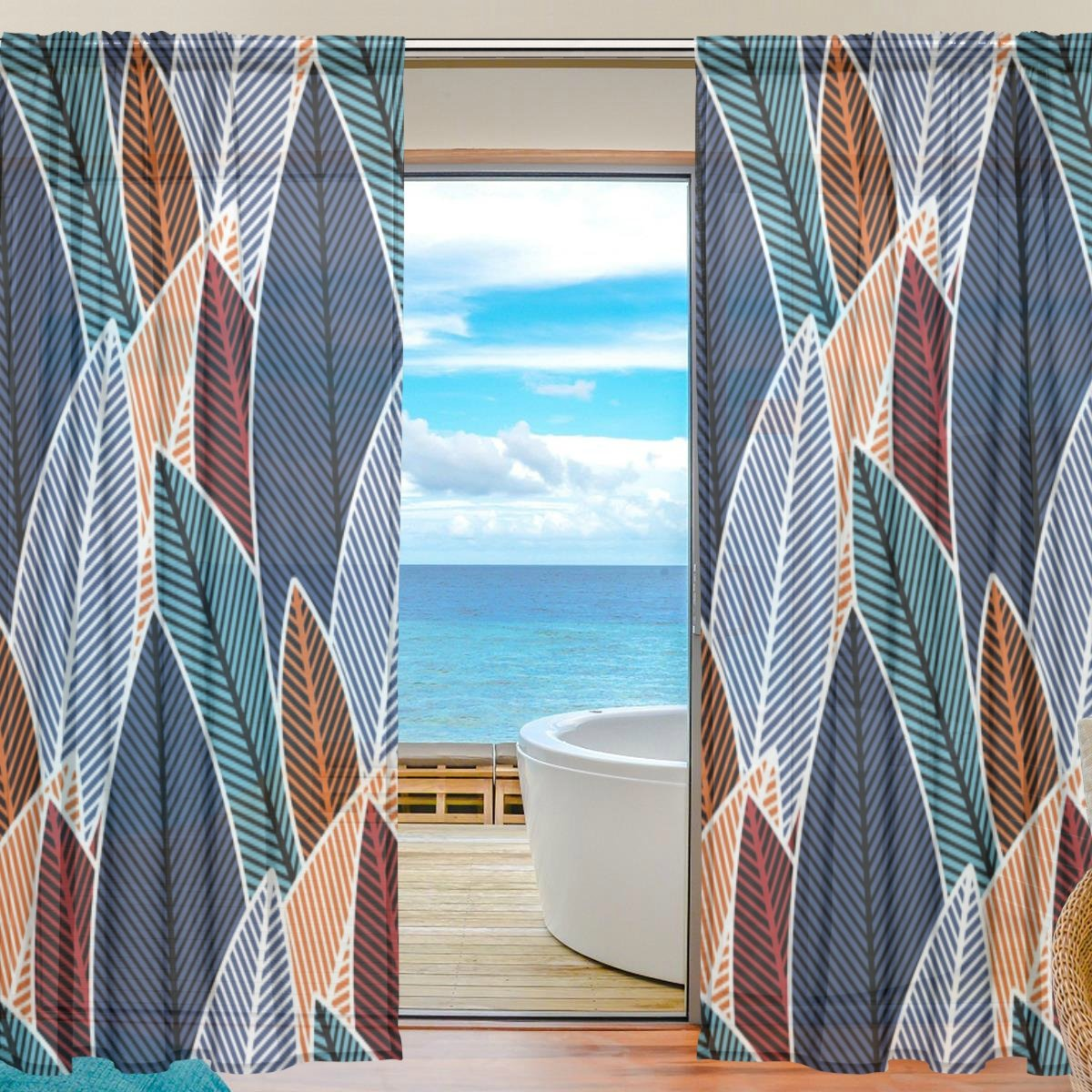 Chen Miranda Colorful Forest Plants Printed Tulle Polyester Window Sheer Curtain Panels Bedroom Living Room Office Draperies Door Window Gauze Shade Curtains 55x78 inch Two Panels Set