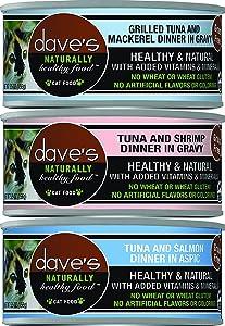 Dave's Pet Food Naturally Healthy Grain-Free Canned Cat Food Mixed 5.5 oz x 18 cans - Tuna & Mackerel, Tuna & Shrimp, Tuna & Salmon