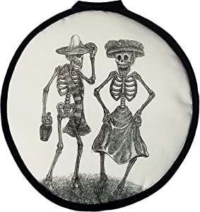 """12"""" LARGE Tortilla Warmer Dia de los Muertos Dancing Couple. This Premium INSULATED tortilla pouch keeps corn & flour tortillas warm from the skillet, pan, grill or microwave!"""