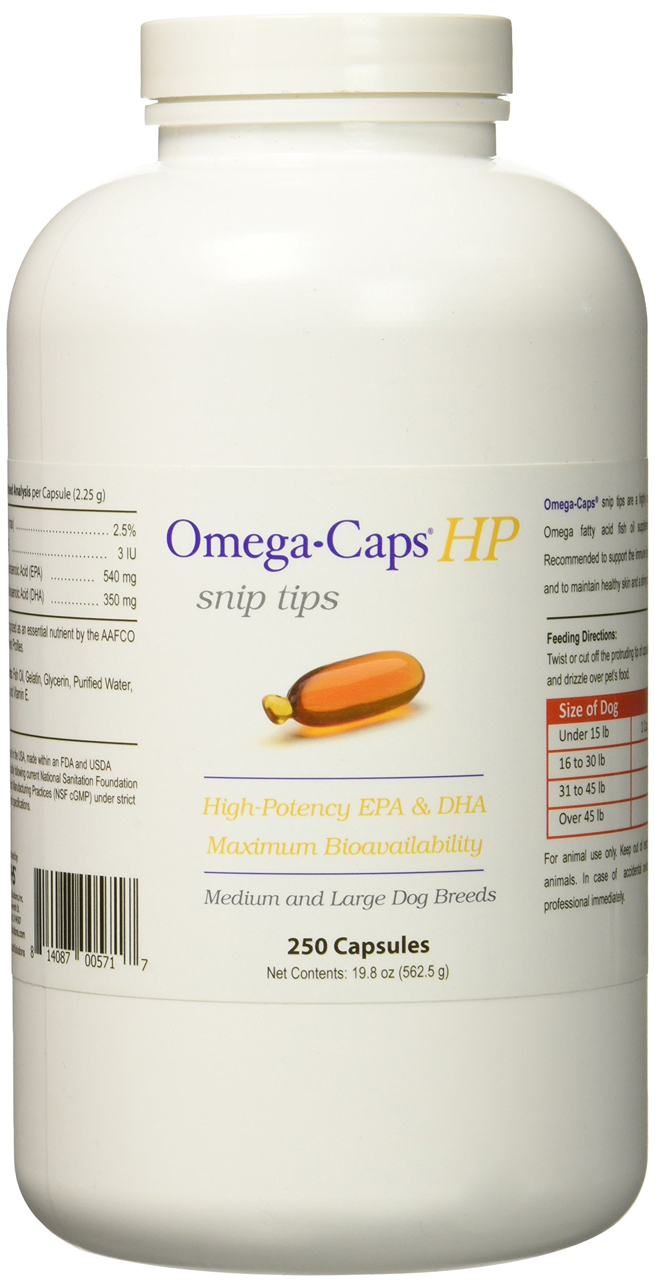 Healthy Pets Omega Caps HP Snip Tips for Medium & Large Dogs (250 Capsules)