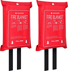 "Navaris Fire Blanket for Kitchen (Pack of 2) - 47"" x 47"" Emergency Fire Suppression Equipment for Home Kitchens, RV, Camper - With Hole to Wall Hang"
