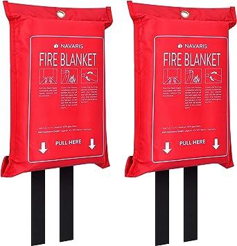 Mantas apaga fuego de 1.20 x 1.20 M Manta apagafuegos para la cocina barbacoa chimenea coche y caravana Navaris Manta ign/ífuga de emergencia