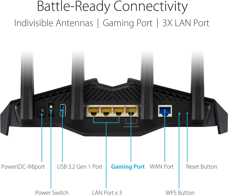 Gaming Port Gear Accelerator AURA RGB Port Forwarding Mesh WiFi Adaptive QoS ASUS RT-AX82U Dual Band WiFi 6 Gaming Router Mobile Game Mode WiFi 6 802.11ax Lifetime Free Internet Security