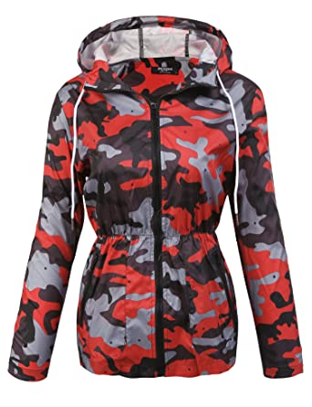 0a932abae8d5a Zeagoo Womens Lightweight Rain Jacket Windproof Skin Coat Hooded Active  Jacket Red Large