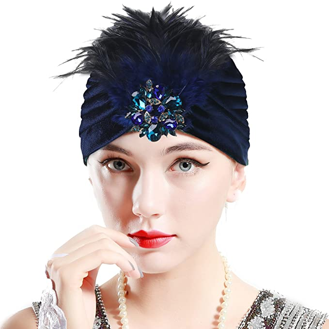 BABEYOND 1920s Knit Turban Hat Gatsby Turban Headwrap 20s Flapper Accessory