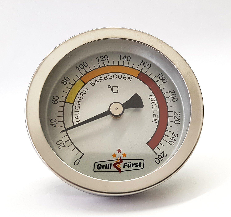 Edelstahl Thermometer 0-120° C Temperatur messen räuchern Räucherofen
