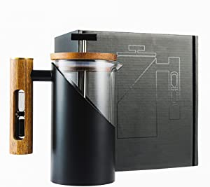 French Press coffee & Tea Maker (28 oz) 304 Grade Stainless Steel and Durable Glass , with Wooden handle ,Hourglass, Easy To Clean, Coffee Press for Home, Travel, Camping