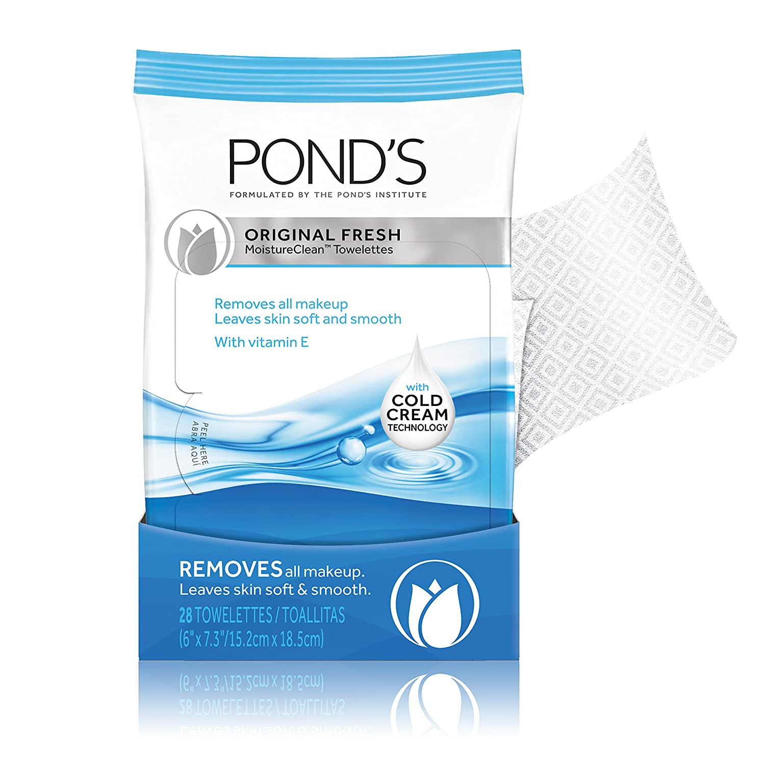 Amazon.com: Ponds Moisture Clean Towelettes, Original Fresh 28 Count: Prime Pantry