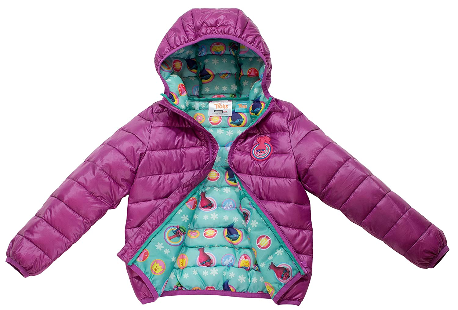 Size 4-7 DreamWorks Trolls Girls Ultralight Hooded Puffer Jacket Official Licensed Product