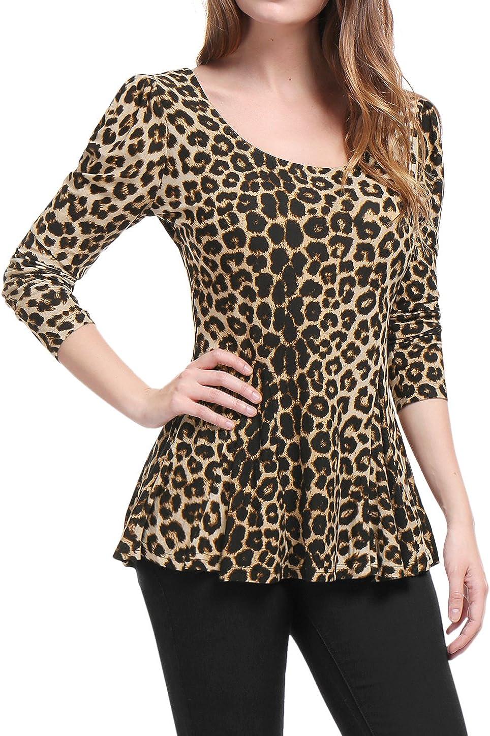 TALLA XL. Allegra K Mujer Camiseta de Manga Larga con Estampado de Leopardo con Sobrefalda
