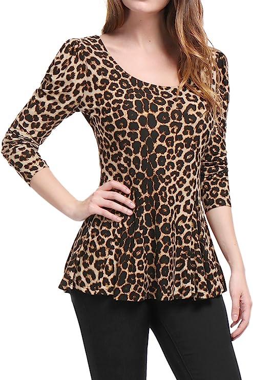 Allegra K Mujer Camiseta de Manga Larga con Estampado de Leopardo con Sobrefalda