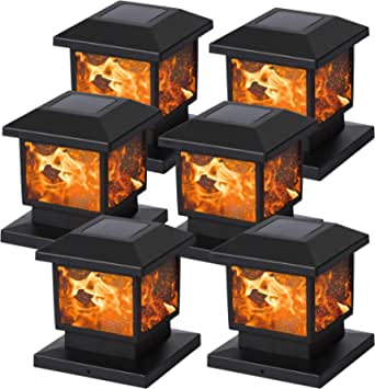 MAGGIFT 6 Pack Solar Flame Post Lights, Outdoor Brightness 72 SMD LEDs Flickering Flame Solar Powered Cap Light for Halloween Christmas, Fits 4x4, 5x5 or 6x6 Wooden Posts, for Yard Fence Deck or Patio