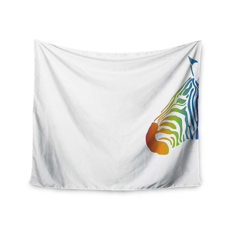 68 x 80 KESS InHouse NL Designs Rainbow Zebra  Multicolor Animals Wall Tapestry