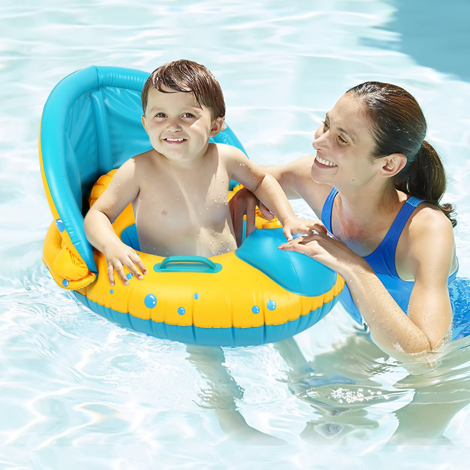 Peradix Infant Pool Float with Canopy Inflatable Baby Water Float Boat with Sunshade for Pool Swimming Ring Floater Raft Toys for Toddlers Kids by Peradix (Image #7)