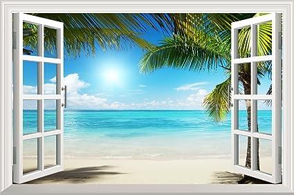 Amazoncom Wall26 White Sand Beach with Palm Tree Open Window Wall