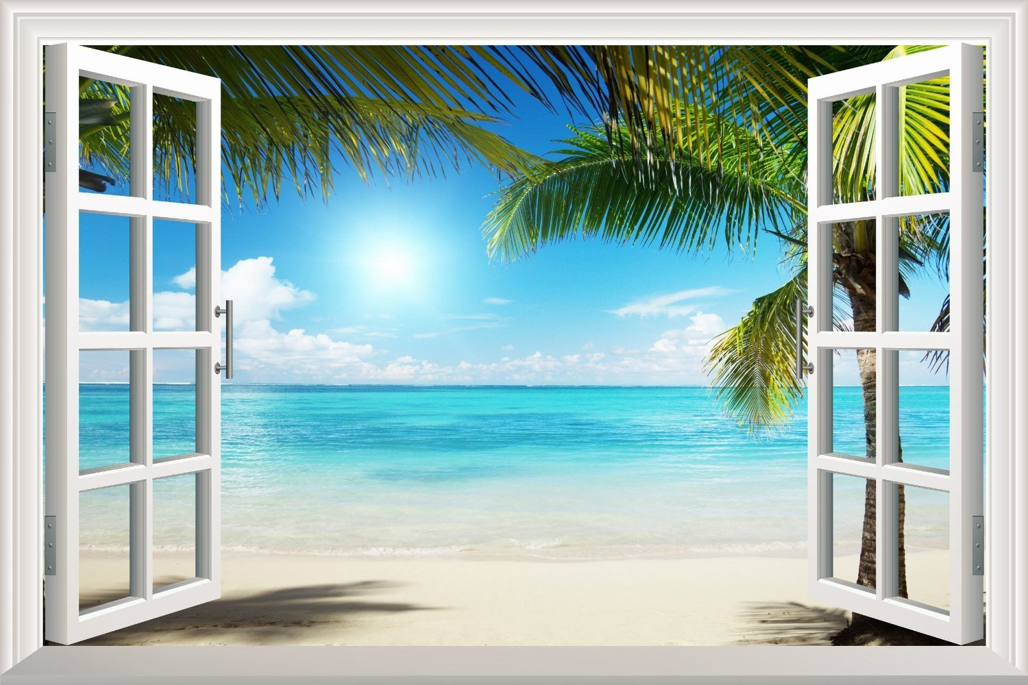 Wallpaper white sand beach palm tree open window wall for Beach wall mural sticker