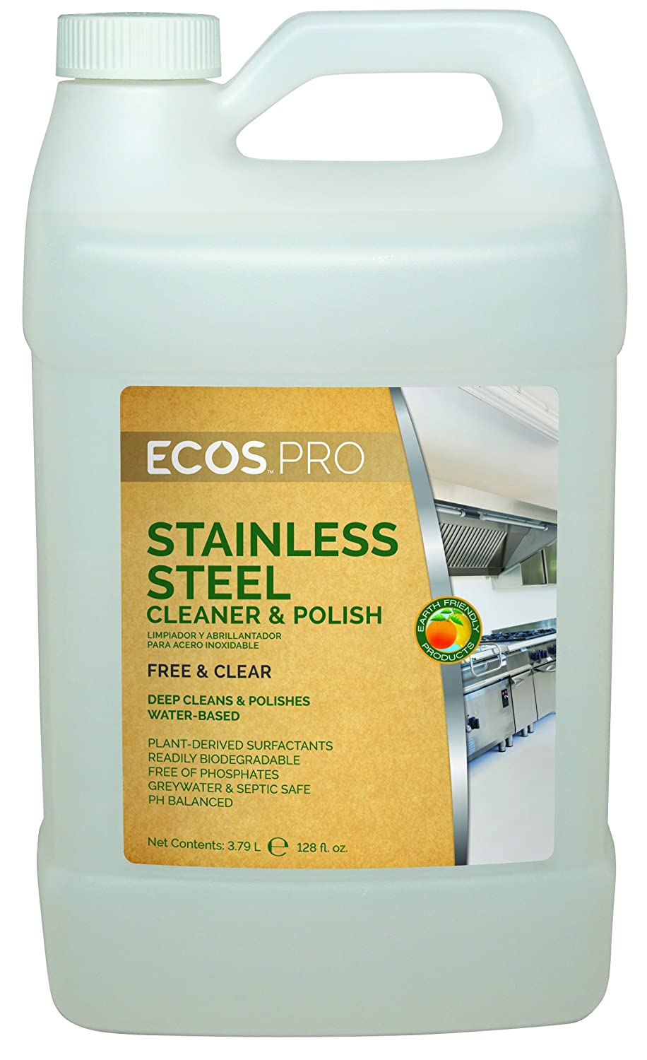 Earth Friendly Products Proline PL9330/04 Stainless Steel Cleaner and Polish, 1 gallon Bottles (Case of 4)
