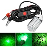 12V 10-14W LED Submersible Fishing Light Underwater Crappie Light Finder Lure Bait Lamp, IP68 Outdoor Night Fishing…