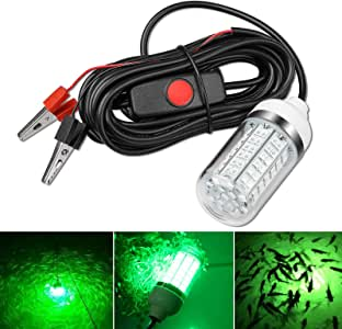 12V 10-14W LED Submersible Fishing Light Underwater Crappie Light Finder Lure Bait Lamp, IP68 Outdoor Night Fishing Light Fish Attracting Light with 5M Power Cord and Battery Clip