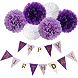 Happy Birthday Banner Bunting Kit, Wartoon Paper Pom Poms flowers Ball with Hanging Party Decorations Banner flags for Birthday Party Decorations - ( Purple, Lavender and White )