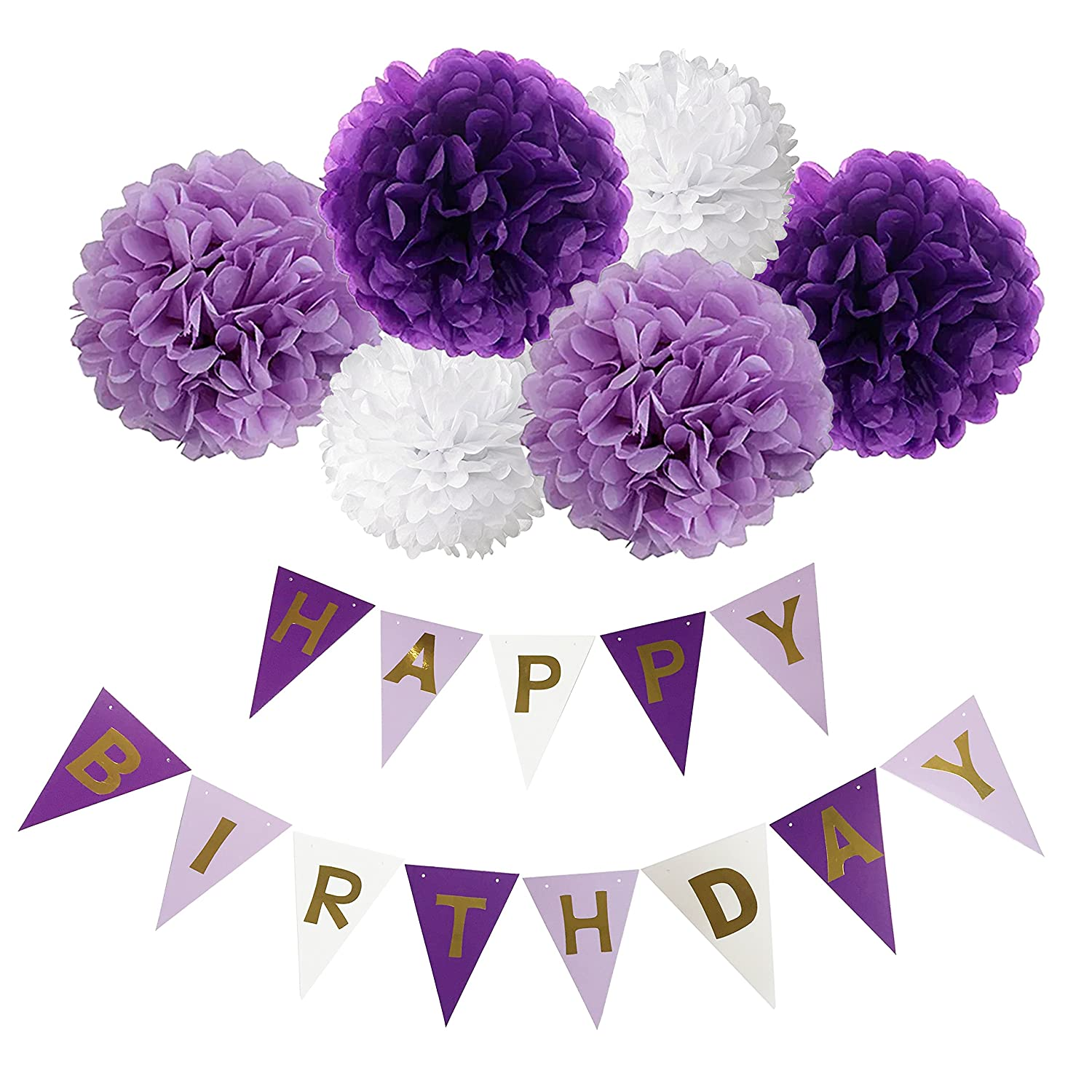 Amazon purple happy birthday bunting banner10 tissue paper happy birthday banner bunting kit wartoon paper pom poms flowers ball with hanging party decorations izmirmasajfo