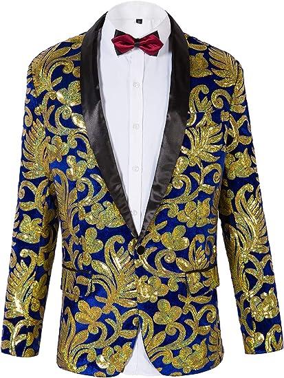 Herren Samt Glänzende Pailletten Party Kleid Anzug Jacke