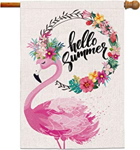 Bonsai Tree Summer Flags 28 x 40 Double Sided, Hello Summer Decorative Burlap Garden Flag, Pink Flamingo Tropical Flowers Seasonal Welcome House Banners Yard Decorations for Home