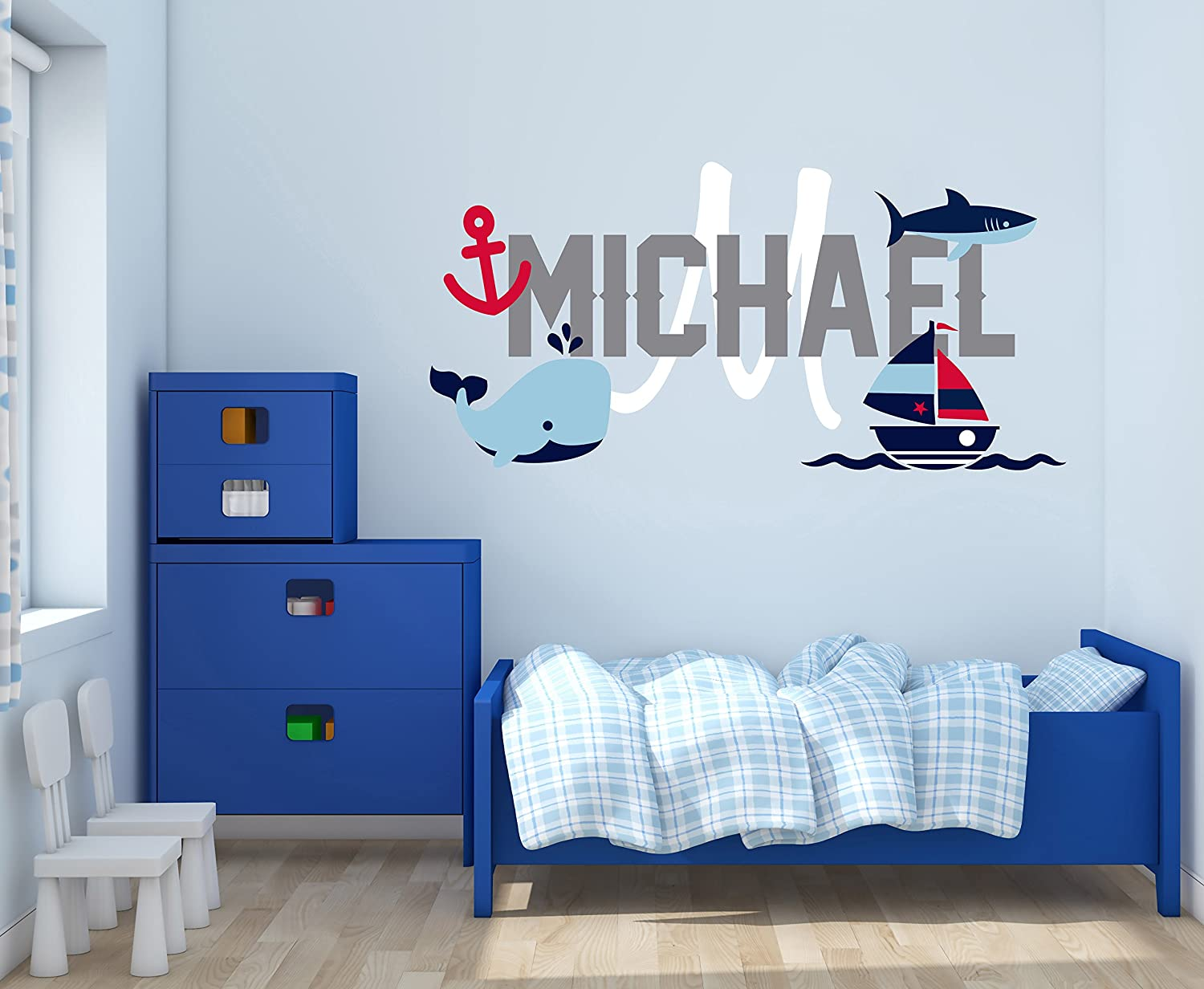 "Custom Name & Initial Boat Anchor Whale & Shark - Baby Boy - Nursery Wall Decal For Baby Rom Decorations - Mural Wall Decal Sticker For Home Children's Bedroom (R75) (Wide 24"" x 12"" Height)"