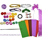 Asian Hobby Crafts Flower Making Kit -Stocking, pearl shining pollens, velvet leaves, flexible wire, green floral tape, green tape wire, duplex paper, pull flower ribbon