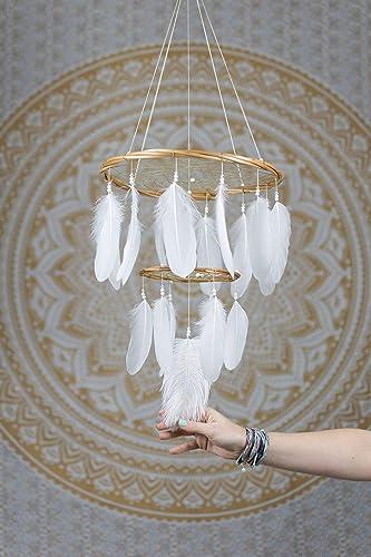 Amazon white chandelier dream catcher mobile 12x18inches white chandelier dream catcher mobile 12x18inches dreamcatcher mobile dreamcatcher mobile bohemian dream catcher nursery mobile aloadofball Images