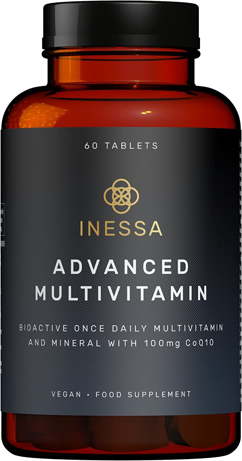 Inessa BIOACTIVE Advanced Multivitamin Potent, Proven Most Absorbable Form Optimal Dose CoQ10 100mg, Vitamin D3 2000 IU, B Spectrum, K2 100mcg, VIT A, 5-MTHF 400mcg Folic Acid, Zinc 20 mcg Lutein