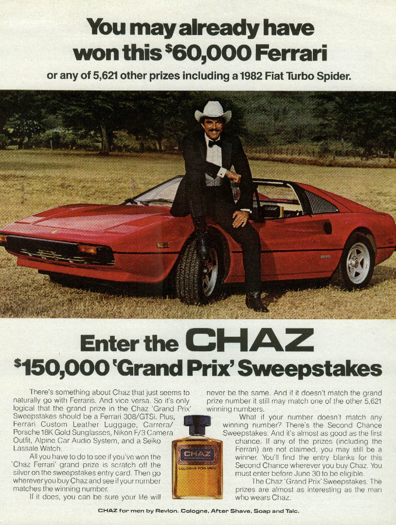 Amazon.com: You may have won this Ferrari 308/GTS Chaz After Shave ad 1982 Tom Selleck: Entertainment Collectibles