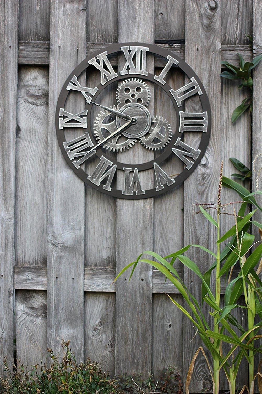 "Decorative Wall Clock Eruner 23/"" Oversized Clocks Mechanism 3D Gear Roman Numerals Design Handmade Large Round Non-Ticking Home Kitchen Living Room Restaurant Bar Decoration Gold HQF"