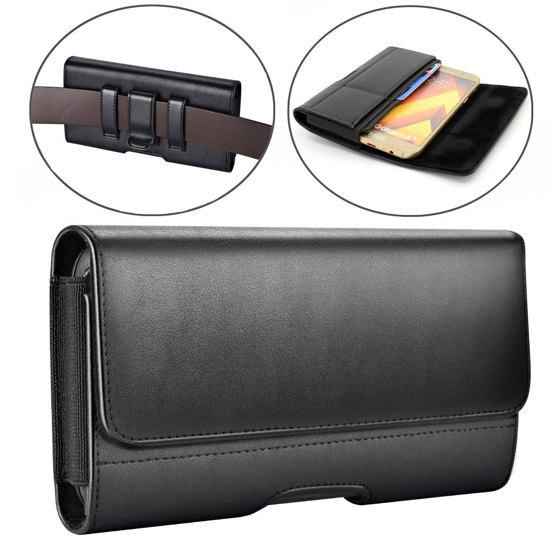 Samsung Galaxy J7 (2017) Case,Galaxy J7v Case/ J7 Prime Case/ J7 Sky Pro Case/ J7 Perx Case Dlames Leather Holster Belt Clip Case Cover ( Fit with a TPU/Thin Case on ) - Black