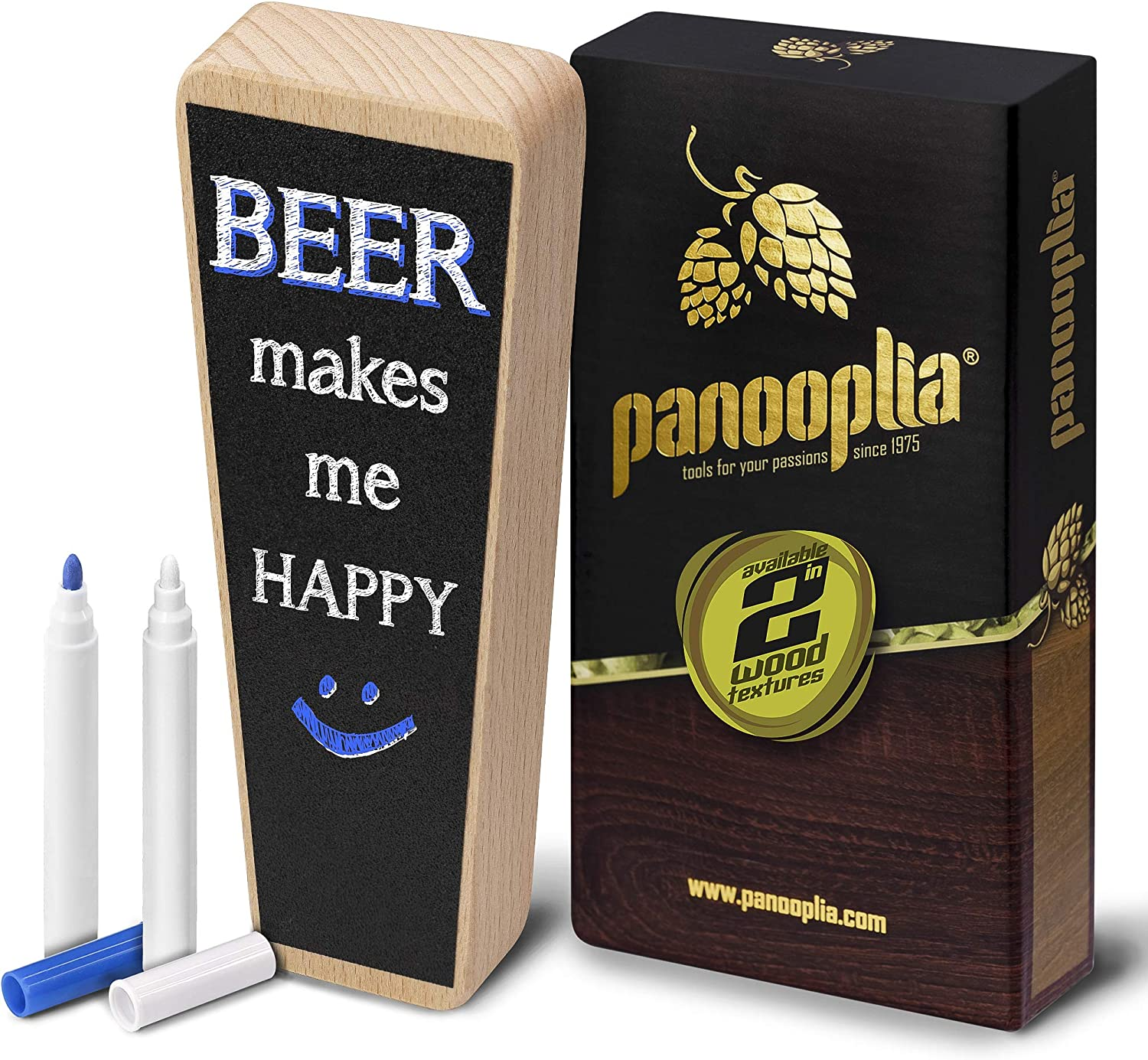 Beer Tap Handle and Two Liquid Chalk Markers Set - Wooden Keg Tap Handle for Standard Faucets and Kegerators with Reusable Chalkboard - Suitable for Home Brew, Bars, Kegs and Draft Beer (Beechwood)