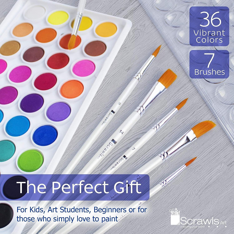 Pinturas Acr/ílicas,Juego de pintura de acuarela 24 colores acr/ílicos+3 pinceles para artistas+1 paleta de mezcla+Lienzo 1 paquete,Tubos de Pintura Acr/ílica r/ápidoIdeales para Pintar y Dibujar