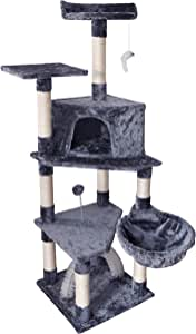 "ROYPET 57"" Fashion Design Large Cat Tree with Scratching Post,Grey"
