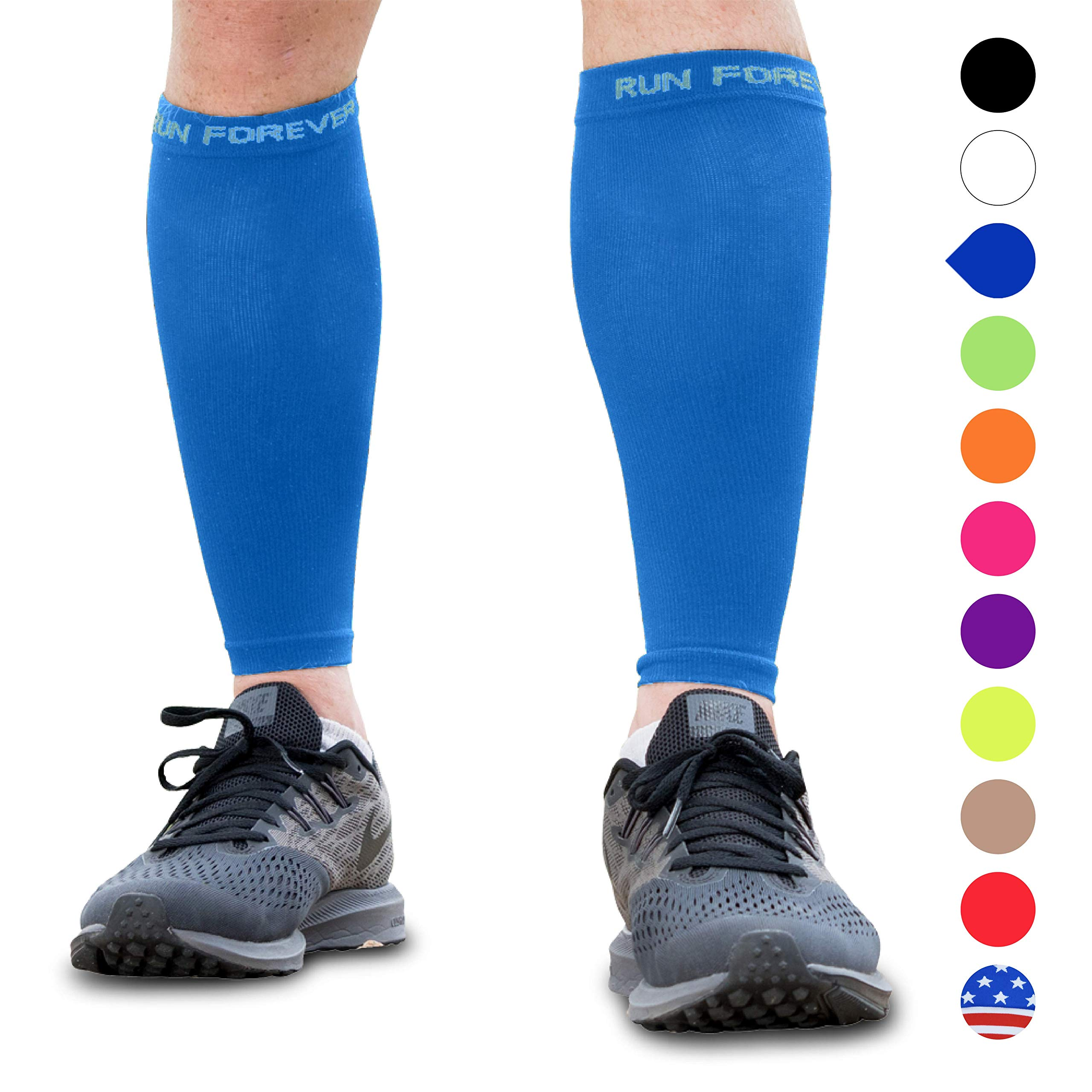 Calf Compression Sleeves - Leg Compression Socks for Runners, Shin Splint, Varicose Vein & Calf Pain Relief - Calf Guard Great for Running, Cycling, Maternity, Travel, Nurses (Blue, Large) by Run Forever Sports