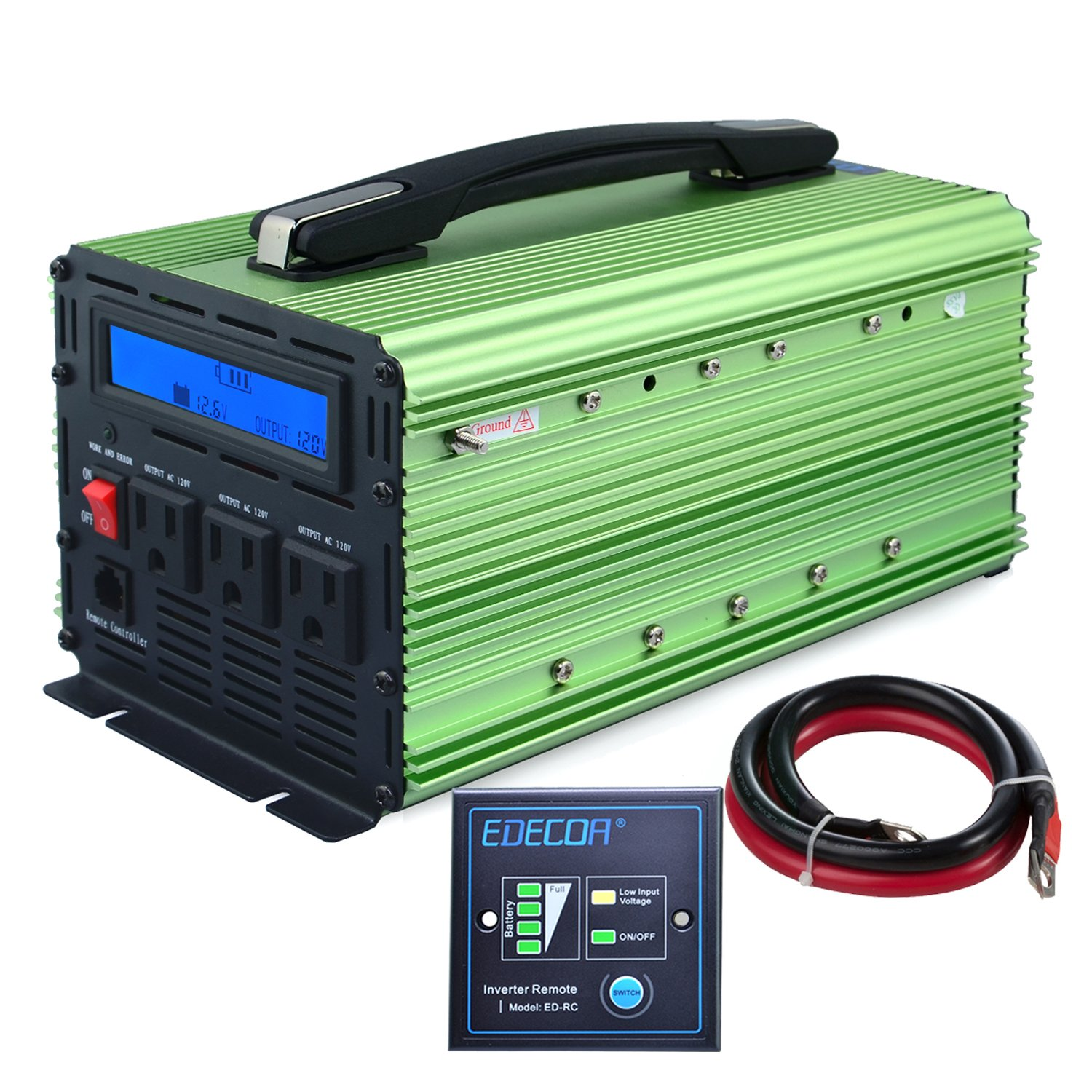EDECOA 2000W Power Inverter Modified Sine Wave DC 12V to 110V AC with LCD Display and Remote by EDECOA