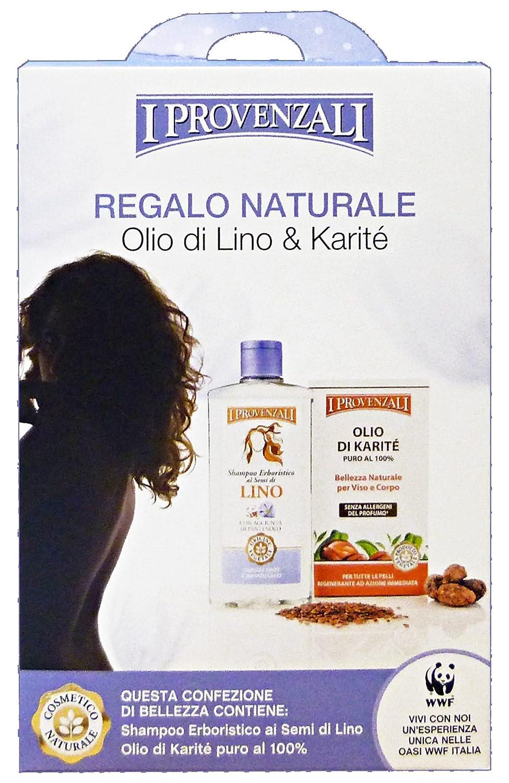 cofanetto regalo naturale olio di lino e karite - shampoo ai semi di lino 250 ml + olio di karite puro 100 ml I Provenzali