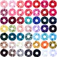 SUBANG 50 Pieces Satin Scrunchies Hair Scrunchies Elastics Hair Bands Ties for Women Girls, 50 Colors