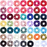 SUBANG 50 Count Satin Scrunchies Hair Elastics Scrunchies Hair Bands Ties for Women Girls, 50 Colors