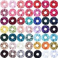 SUBANG 50 Count Satin Scrunchies Hair Elastics Scrunchies Hair Bands Ties for Women Girls, 50 Colors