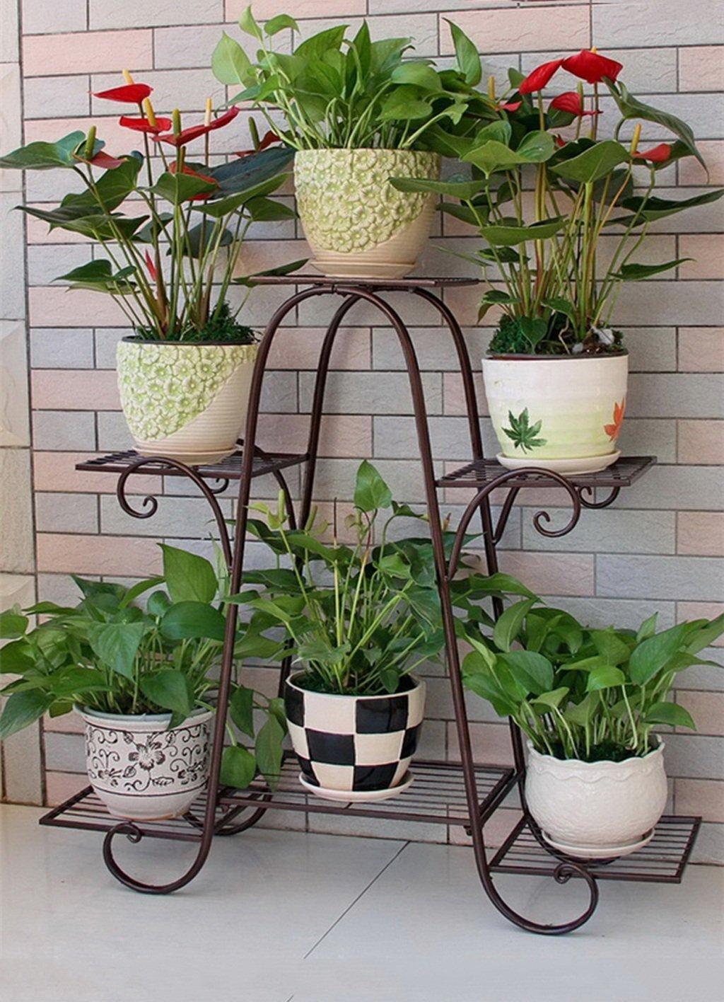 DYGDHJ Supporto da Vaso in Ferro a 3 Strati Supporto da Fiore in Stile Europeo Semplice Bonsai di Alta qualità Balcone Vaso da Fiori Telaio da Fiore in Ferro da Pavimento