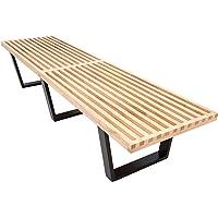 LeisureMod Mid-Century George Nelson Style Platform Bench 6 Feet (Natural Wood)