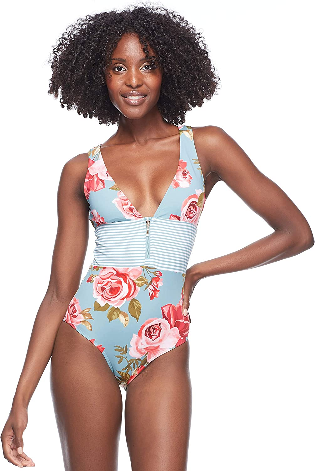 Skye Women's Faith One Piece Swimsuit with Plunging Neckline and Zip Front Detail