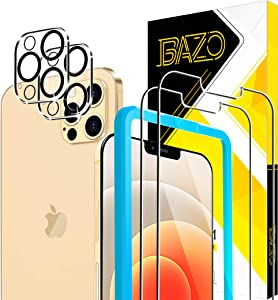 [2+2 Pack ]BAZO Compatible For iPhone 12 Pro Max (6.7 inch) Screen Protector + Camera Lens Protector Tempered Glass with True Touch 9H [Anti-Scratch] [Alignment Easy Installation Frame] HD-Film
