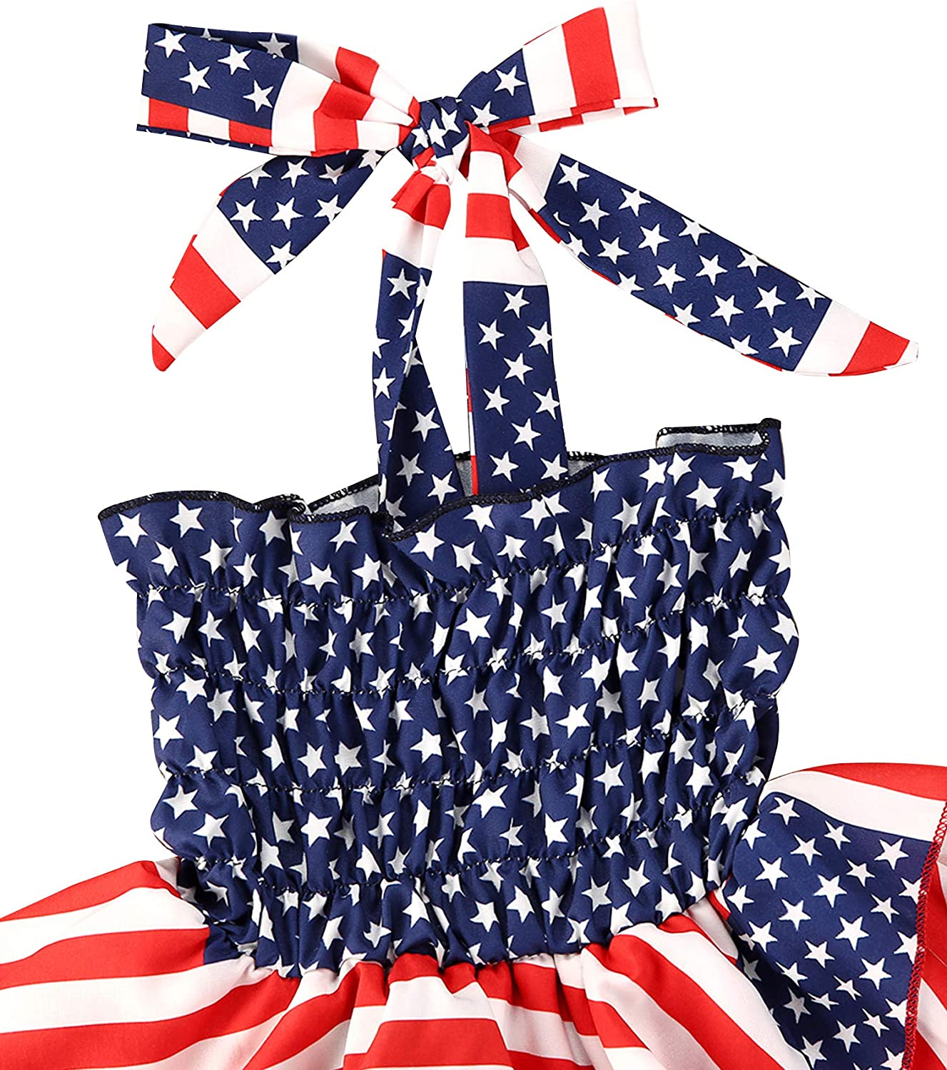 woshilaocai Toddler Baby Girl American Flag Outfits Ruffle Halter Dress Tunic Top Star Striped Print Independence Day Clothes