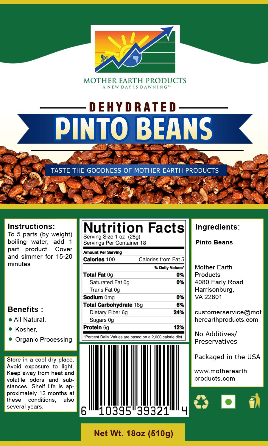 Mother Earth Products Dehydrated Instant Pinto Beans Quart Mylar, 18 Oz